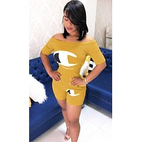 Champion Fashion New Letter Logo Print Sports Leisure Top And Shorts Two Piece Suit Yellow