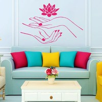 Lotus Decals Flower Girl Hands Manicure Wall Decals Vinyl Sticker Decal Spa Beauty Salon Bedroom Living Room Wall Decor Home Interior Design Art Mural