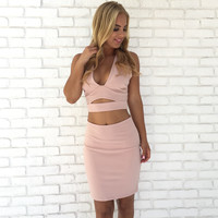 Two To Tango Bodycon Dress Set In Pink