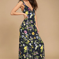 Simple Pleasure Navy Blue Floral Print Maxi Dress