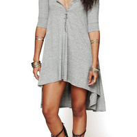 Grey Half Sleeve Asymmetric Dress