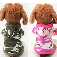 Pet Dog Puppy Cat Soft Camo T-shirt Coat Clothing Apparel Costumes Camouflage