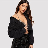 Drop Shoulder Pocket Ripped Crop Denim Jacket Women Casual Long Sleeve Black Jacket Ladies Single Breast Coat