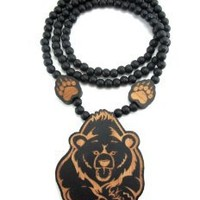Large Wooden Two Toned Bear w/ Paw Pendant Chain Bead Necklace All Good Wood Style