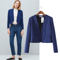 Fashion Women Long Sleeve Solid Business Casual Suit Outerwear Jacket Top a13012