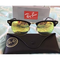 RayBan Ray-Ban ClubMaster Black Frame Yellow Lens RB3016 901/18 51MM NEW