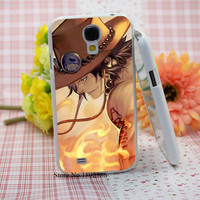 Anime One Piece Ace fashion original  White Hard Case Cover for Samsung Galaxy S3 S4 S5 S6 Edge Mini Series