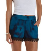 Crochet-Trim Tie-Dye High-Waisted Shorts