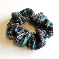 Grey and Teal Plaid Scrunchie Fashion Womens Scrunchies Pony Tail Holders Girls Hair Ties Plaid Fashion Accessories