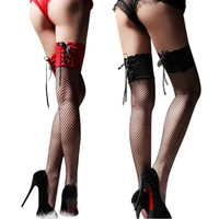 Women's Black Red Fishnet Stocking Thigh High Sheer Lace Top Sexy Stockings Hosiery Nets Stay Up For Women Female Stockings