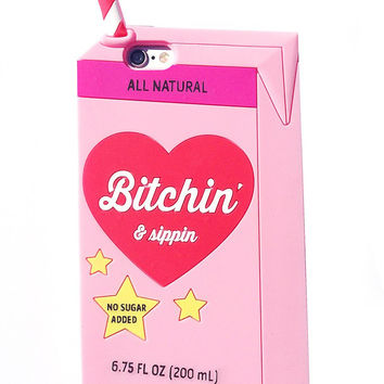 Bitchin & Sippin 3D iPhone 6+/6S Plus Case (PINK)
