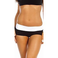 Sexy Balance Roll Down Top Athletic Yoga Hot Pants in Black