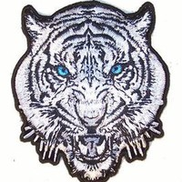 DELUXE EMBRODIERED WHITE TIGER HEAD PA6913  iron on novelty biker patches tigers