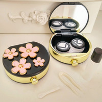 3D Alloy Flower Contact Lenses Case in White and Black Color for Traveling Case Kit with Mirror