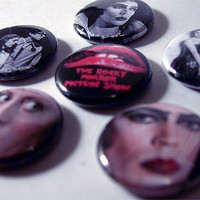 """ROCKY HORROR PICTURE Show 1"""" pinback button set (Movies, Tim Curry)"""