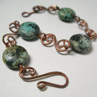 Copper Bracelet African Turquoise Rustic Jewelry