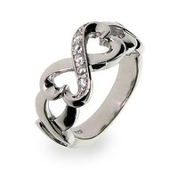 Silver-Tone Twisted Hearts Infinity Ring