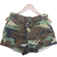 Army Camo Shorts, Women's Studded Refashioned Shorts