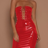 Red Cross Bandeau Off Shoulder Backless Lace-up Vinyl Latex Club Party Mini Dress
