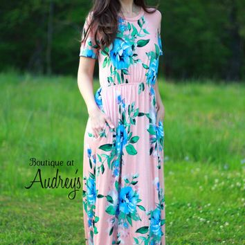 Blush Short Sleeve Maxi Dress with Bold Blue Floral Print by Sweet Pea