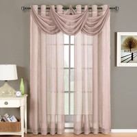 Abri Mauve Grommet Crushed Sheer Curtain Panel
