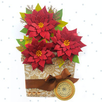 Flower Pot Card, Poinsetta Flower Pot, Christmas Card, Handmade Card