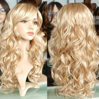 50 Cm y Fashion Blonde Wigs Cosplay Anime Long Curly Wavy Not Lace Full Synthetic Hair Wigs Dance Party Perucas Peruca Alternative Measures