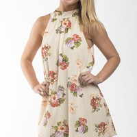 Corey Floral Print Mock Neck Shift Dress