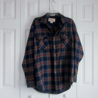 Flannel Shirt, Vintage Plaid Shirt, 80s 90s Hipster Shirt, Mens Size L Large, Brown Navy Red Plaid Flannel Shirt, Mens Shirt