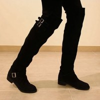 Sexy  Women Low Mid Heel Shoes Over Knee Boots Round Toe Suede Fleece Inside 1oe