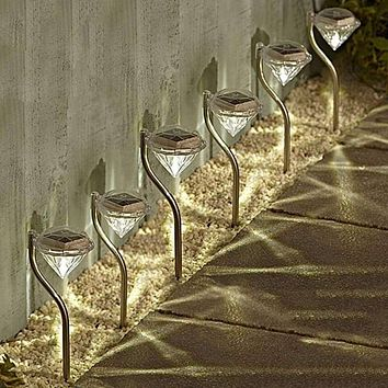 6 pcs Color Changing Diamond Outdoor Solar Light