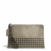 BLEECKER GROMMETS LARGE POUCH CLUTCH IN LEATHER