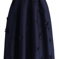 Falling Flowers Airy Pleated Midi Skirt in Navy