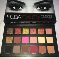 18 Colors Huda Beauty Cosmetics Eyeshadow Pallete Makeup  Pink Gold With Texture Eye Shadow Palette