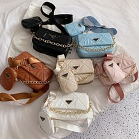 PRADA new product solid color sewing thread flap shoulder bag two-piece crossbody bag