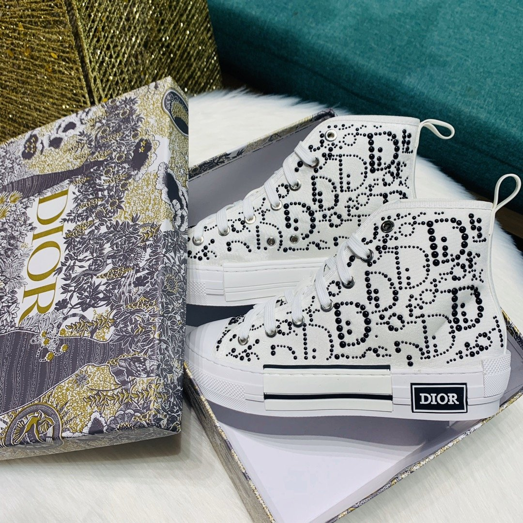 Image of Dior fashion casual shoes stitched high top shoes