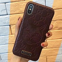 GUCCI Fashion New Cat More Letter Leather Case Women Men Phone case Protective Cover Burgundy