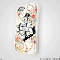 A Smooth Sea Never Made a Skillful Sailor Anchor iPhone 5 4 4S Case iPhone 4 Case Refuse to Sink Blue Ocean Beach Floral Silicone