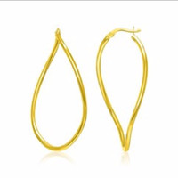 Twisting Oval Hoop Earrings in 14K Yellow Gold