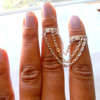 Silver Chain Double Above Knuckle Ring, Adjustable Finger Ring, Stackable rings, Edgysheeq statement rings for everyday Flair