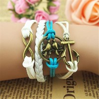 MagicPieces Anchor Birds Braid Infinity 5 Layers Blue and White Handmade MultiLayered Bracelet For Women's Teens Friendship Birthday Gift