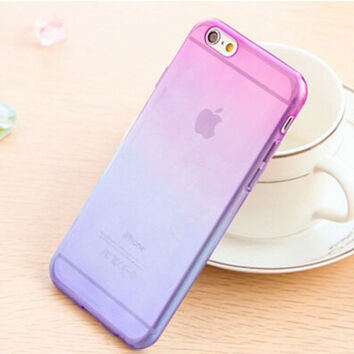 Purple and Blue Candy Colors Gradient Soft TPU Clear Transparent Skin Protective Cases For iPhone 4 4S 5 5S SE 6 6S 6 Plus 6S Plus 7 & 7 Plus