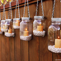 Hanging Mason Jar Luminary Lantern  Set of 10 by TheCountryBarrel