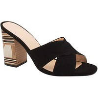 Black Clog Crossover Straps Block Heel  - Stephanie