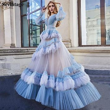Sevintage Princess A Line Feathers Evening Dresses Long Sleeves Transparent Tulle Prom Blue Gowns Modest Women Party Dress