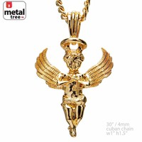 """Jewelry Kay style 14k Gold Plated Mini Pray Angel Pendant 30"""" 4mm Cuban Chain Necklace MMP 144 G"""