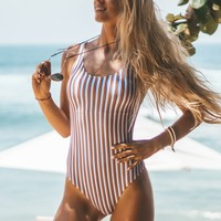 Cupshe Follow My Heart Stripe One-piece Swimsuit