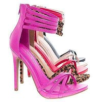 Cayla By Shoe Republic, Open Toe High Stiletto Heel Sandal w/ Zipper Closure & Multi Straps