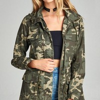 Camouflage Utility Jacket With Hoodie