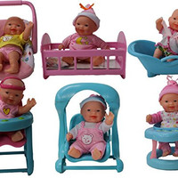 Set of 6 Mini Dolls with 6 pieces of toy furniture & accessories.